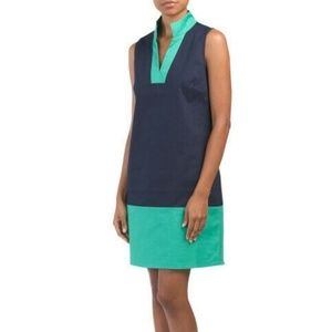 Sail to Sable navy and green tunic dress size S